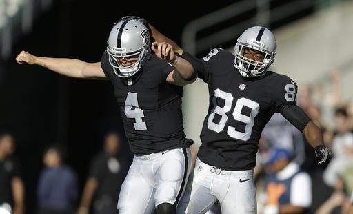"Derek Carr (left) and Amari Cooper, ""AC/DC,"" hope to put the Silver and Black back in first this year. - PHOTO COURTESY OF BLEACHER REPORT"
