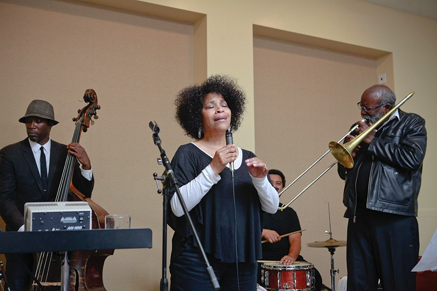 Singer Clairdee, bassist Marcus Shelby, trombonist Wayne Wallace, and drummer Hamir perform at a fundraiser for Jazz in the Neighborhood in 2015. - PHOTO COURTESY OF MARIO GUARNER