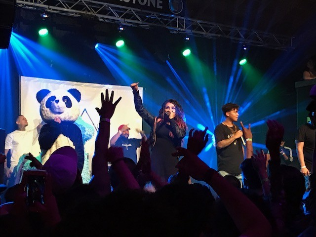 On stage: Snow Tha Product, Castro Escobar, and DJ Pumba