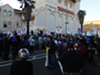 Several hundred union members blocked the street and picketed the mayor's speech at the Islamic Cultural Center of Northern California last month.