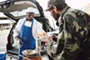 Chef Pat cooks meals for homeless people on Fridays in Oakland.