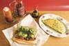 Cam Ahn's vegan lemongrass tofu banh mi sandwich and bitter melon fritatta.