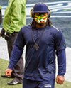 Marshawn Lynch in a still from the film <i>Lynch, a History</i>