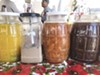 There are many homemade fruit syrups for the raspados.