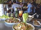 Larb Thai Food & Tapas serves up a feast of crispy rice ball salad, larb, soup, and grilled chicken liver.