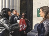 PHOTO BY STEVEN TAVARES - Protesters confront Schaaf.