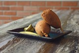 PHOTO BY LANCE YAMAMOTO - The gourmet corn dogs are playful and full of herbs.