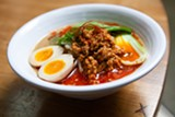 "BERT JOHNSON - The ""Spicy"" ramen comes topped with ground pork that's cooked in fermented miso."