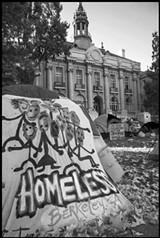 "DAVID BACON - Homeless people created ""Liberty City,"" a tent city on the lawn in front of Berkeley's old City Hall, to protest the city council's proposal to enact stricter rules targeting the homeless."