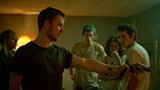 Imogen Poots, Joe Cole, Callum Turner, Alia Shawkat, and Anton Yelchin (L to R) in Green Room.