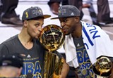 COURTESY OF GOLDEN STATE WARRIORS - Want to kiss that hardware again, Steph and Andre? Better score more points in the fourth.