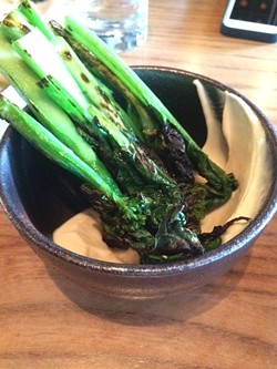 """Charred broccoli with """"misonnaise,"""" one of many excellent dishes at the short-lived Ume. - LUKE TSAI"""