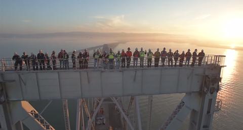 Screen grab of workers on the Bay Bridge.