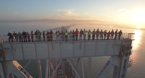 Screen grab of workers on the Bay Bridge.