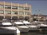View of the Jack London Square waterfront location of The Forge