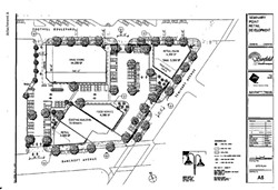 The site plan for Sunfield Development, LLC's Seminary Point Retail Development project where Walgreens has asked for an exemption to the Oakland Living Wage Ordinance.