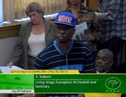 Oakland resident and activist John Jones told the Community and Economic Development Committee members he opposed the Living Wage Ordinance waiver for Sunfield Development's Seminary Point project.