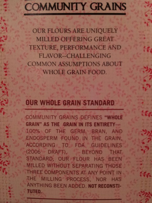 Whole grain is defined clearly on all Community Grains products.