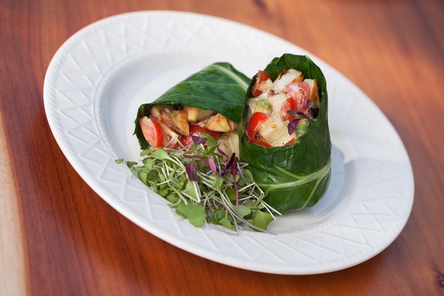 """A """"burrito,"""" served in a collard leaf wrap. - CORE KITCHEN"""