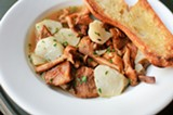 CHRIS DUFFEY - Wood-oven-roasted chanterelle mushrooms and Jerusalem artichokes with garlic toast.