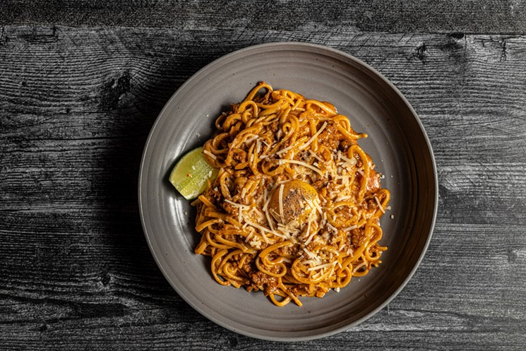 You'll find this decadent chorizo and egg carbonara on the HRW menu at Mastranto's. - PHOTO BY CHRISTA ELYCE STUDIOS