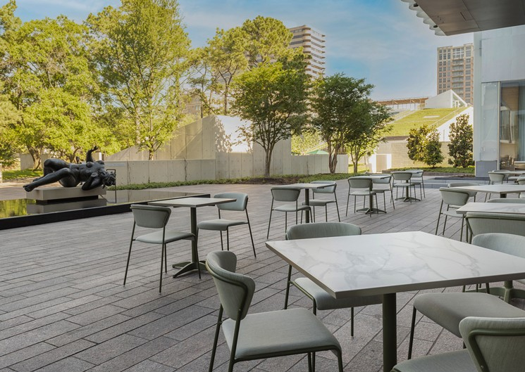 The patio offers diners a view of the Cullen Sculpture Garden. - PHOTO BY CLAUDIA CASBARIAN