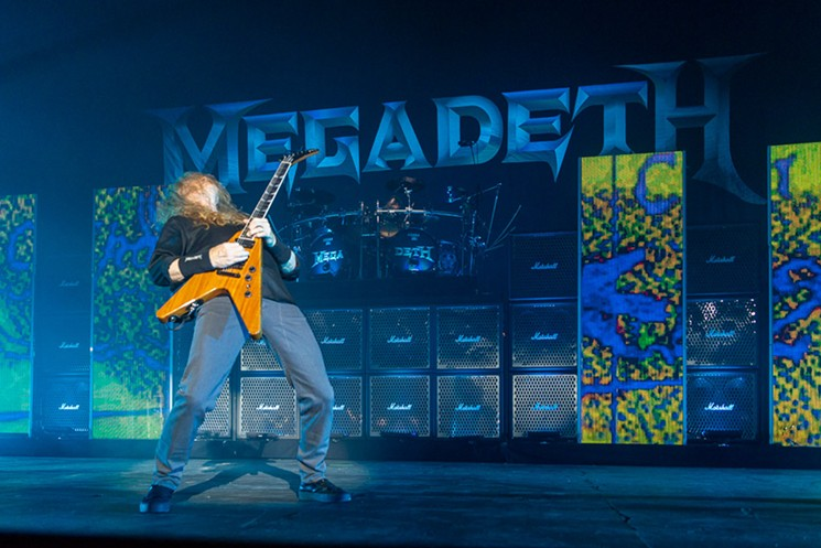 Megadeth frontman Dave Mustaine in front of the wall of amps. - PHOTO BY JENNIFER LAKE,