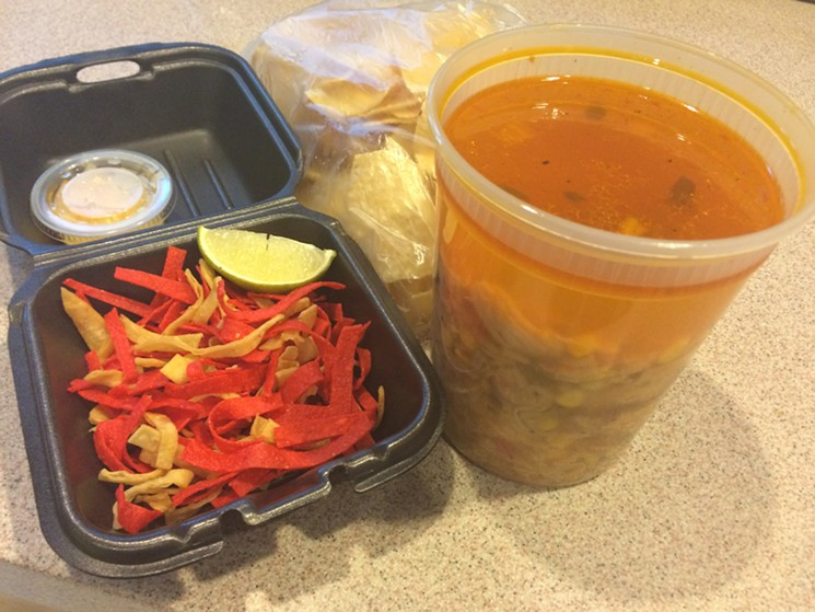 Tortilla soup rides home unscathed. - PHOTO BY LORRETTA RUGGIERO