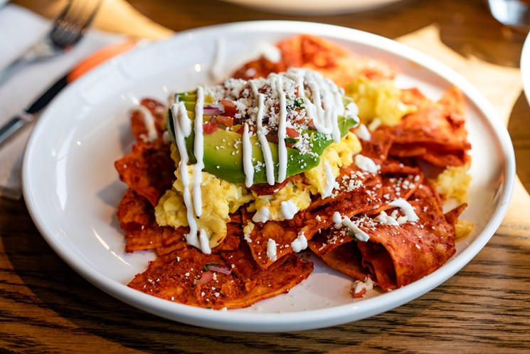 Do-it-yourself chilaquiles and mimosas from FM Kitchen are a way to extend the summer.  - PHOTO BY KIRSTEN GILLIAM