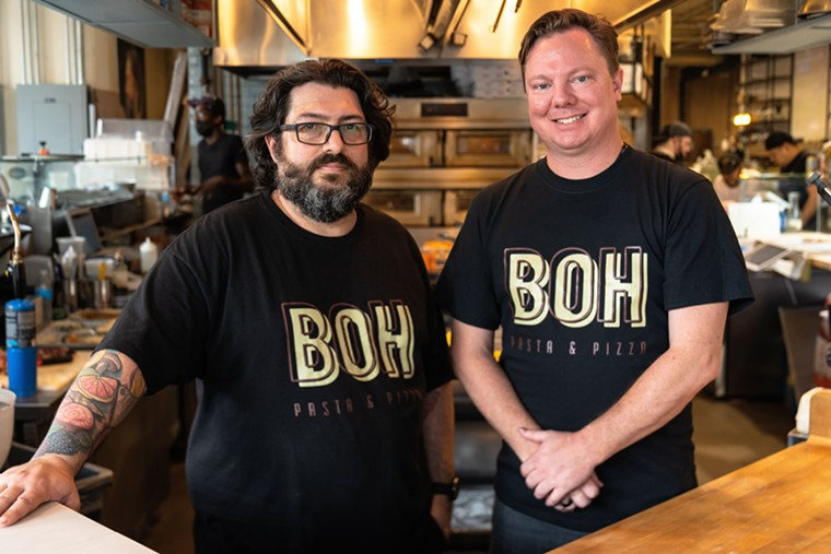 Chris Zettlemoyer and Ben McPherson are kicking up lunch at BOH. - PHOTO BY MICHAEL ANTHONY