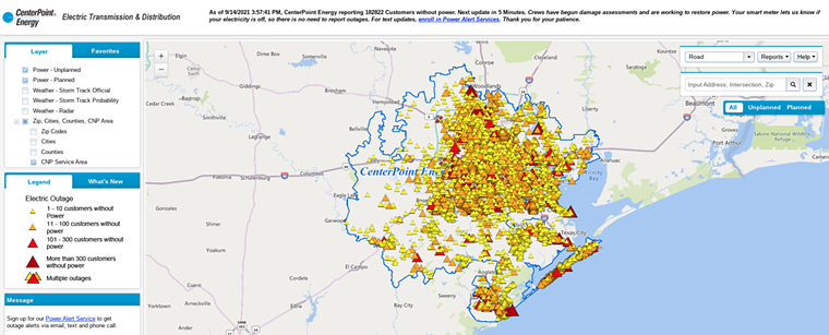 CenterPoint's outage map showed that the utility provider had made great strides in power restoration since Tuesday morning.  - SCREENSHOT