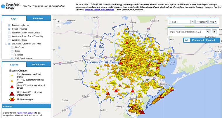 Over 83,000 Houston area residents still lacked power Wednesday morning. - SCREENSHOT
