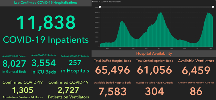 The latest COVID data from the Department of State Health Services shows fewer hospitalizations, but ICU beds are still scarce. - SCREENSHOT