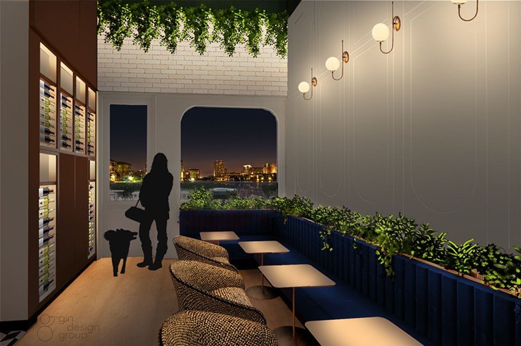 An outdoor patio, bottles of wine and your precious pooch can be enjoyed together at Pucci Cafe. - RENDERING BY GIN DESIGN GROUP