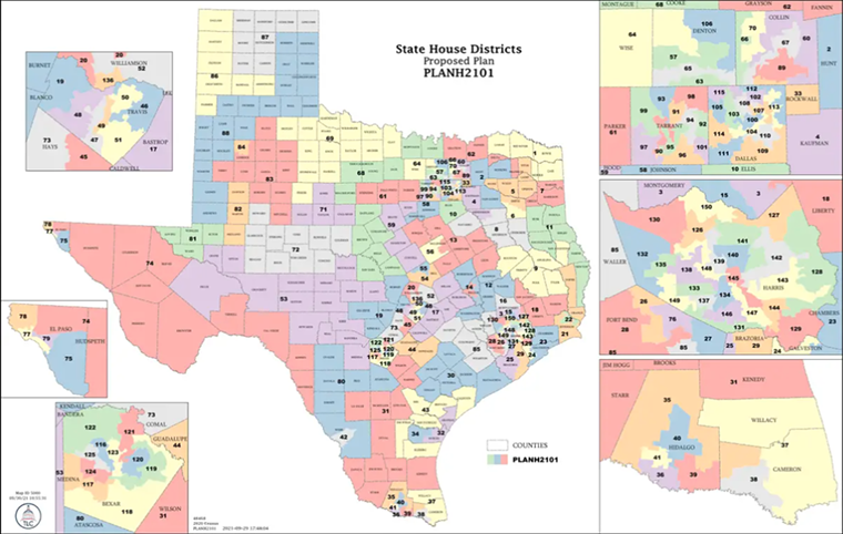 The newly proposed Texas House districts, courtesy of the Texas Legislative Council. - SCREENSHOT