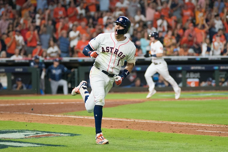 Carlos Correa got an emotional ovation (and hit a homer) at what is likely his last regular season game in Houston. - PHOTO BY JACK GORMAN