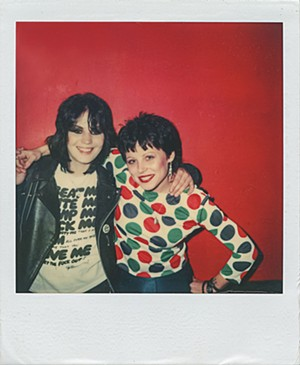 Fellow rocker Joan Jett with a brunette Schock. - PHOTO FROM THE COLLECTION OF GINA SCHOCK/COURTESY OF MAD INK PR