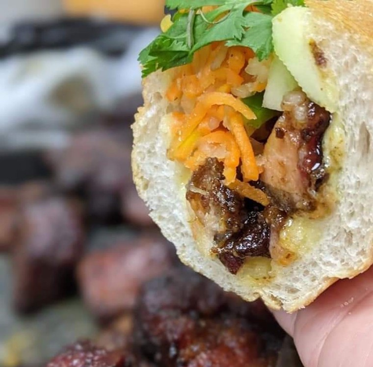 Burnt bbq ends meet banh mi in a fusion flavor bomb. - PHOTO BY CUC LAM