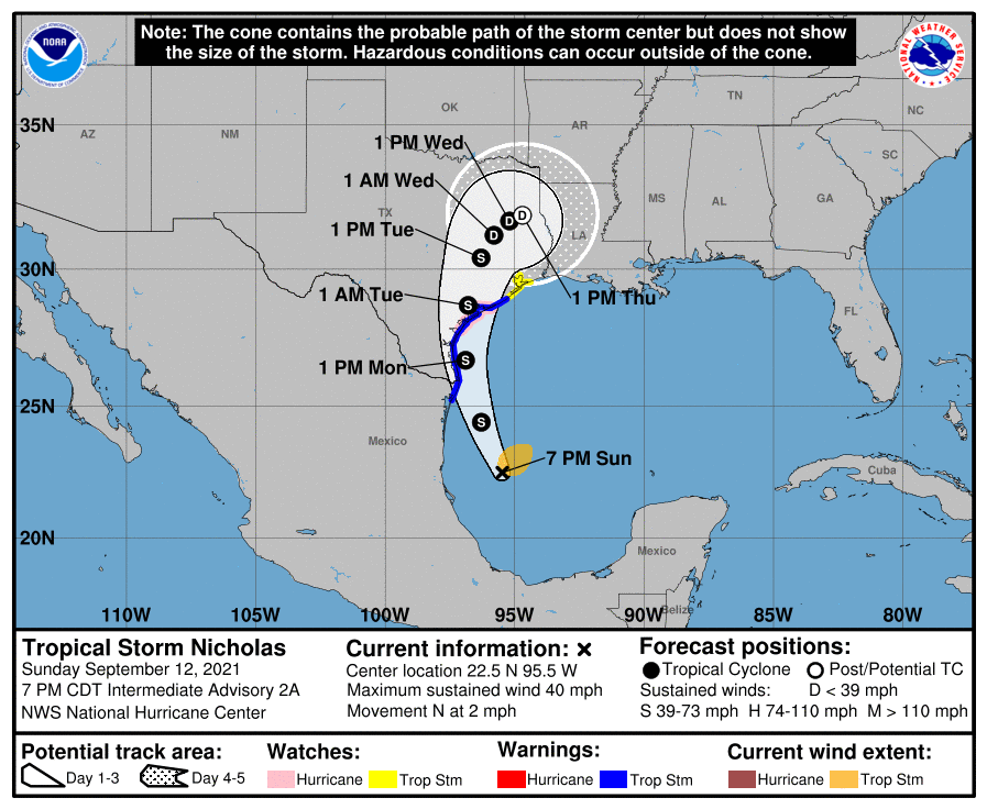 The forecast track of Tropical Storm Nicholas as it drags rain through Texas.