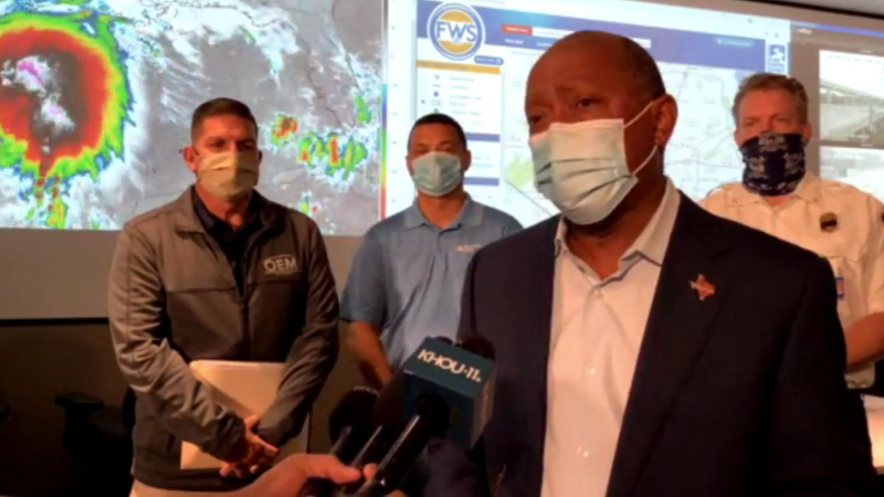 Houston Mayor Sylvester Turner addressed Tropical Storm Nicholas Monday from Houston's emergency center.