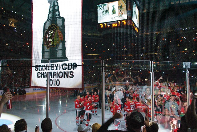 Chicago Blackhawks Stanley Cup Banner Ceremony. - PHOTO BY NICOLE YEARY VIA WIKIMEDIA COMMONS