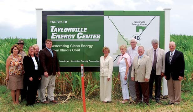 During a July 2010 dedication, city, county and state officials stood before a second sign, at County Roads 1700 North and 1400 East. For years, another sign along Route 48 has designated the same area as the future site of the Taylorville Energy Center. - REPRINTED WITH PERMISSION OF THE BREEZE-COURIER