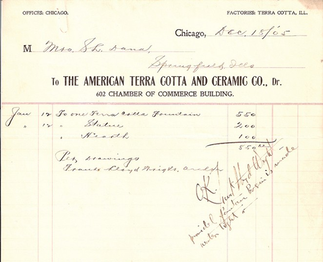Receipt and note signed by Frank Lloyd Wright for the Moon Children fountain.