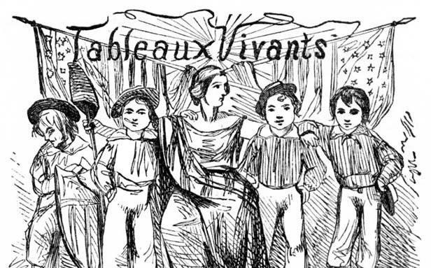 "Tableaux vivants, or ""living pictures,"" were popular parlor amusements in 19th-century America.  Participants would stage dramatic scenes from history, literature or paintings."
