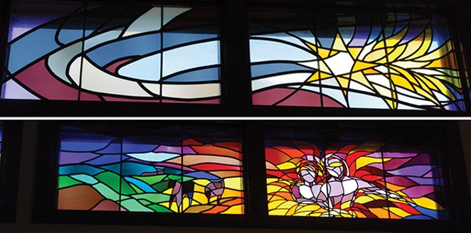These contemporary clerestory windows in the Third Presbyterian Church sanctuary at 1030 N. Seventh St. are two of the six pairs of windows in all designed to represent the Creation story as told in the Bible book of Genesis. They were commissioned by the - PHOTO BY DIANNE CROWN