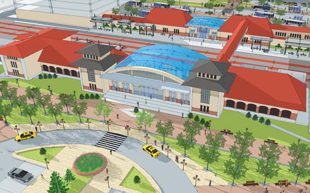 A conceptual drawing of the proposed transit-oriented development. The rail terminal facing 11th Street, foreground, could be connected with a walkway over the 10th Street tracks to a bus terminal, at top of picture. - ILLUSTRATIONS COURTESY SPRINGFIELD-SANGAMON COUNTY REGIONAL PLANNING COMMISSION