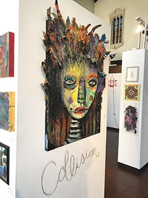 """Just a few of the 159 works that were on display at this weekend's """"Collision"""" exhibit. - PHOTO COURTESY OF THE PHARMACY GALLERY AND ART SPACE"""