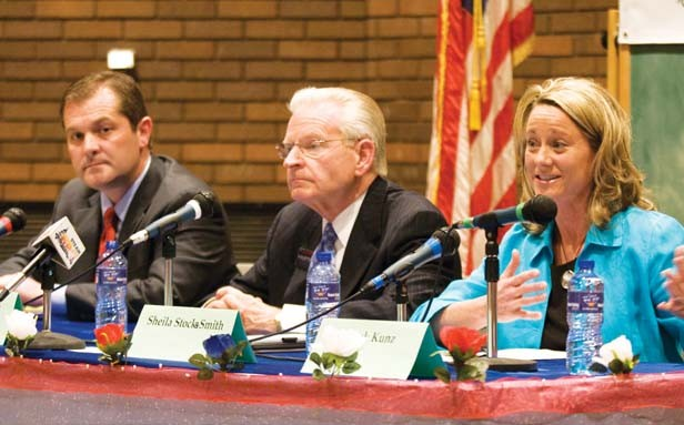 Mayor candidates (left to right) Mike Coffey, Mike Houston and Sheila Stocks-Smith. - PHOTO BY PATRICK YEAGLE