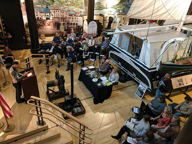 The Moby-Dick Marathon begins in the Whaling Museum's Bourne Building next to Lagoda, a half-scale model of a 19thC whaleship. - PHOTO COURTESY NEW BEDFORD WHALING MUSEUM