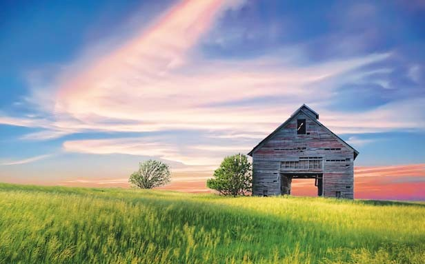 "Images of Illinois Best in Show, ""Prairie Barn,"" a photograph by RT McDonald of Springfield, taken near Dwight. McDonald spied the barn several times from I-55 before finally having time to stop to capture this stunning mixture of"